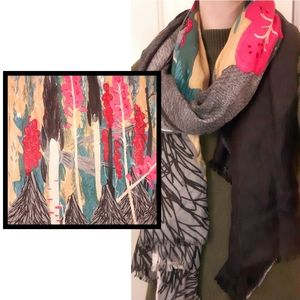 MIR Cashmere and Wool Blend Forest Artwork Scarf